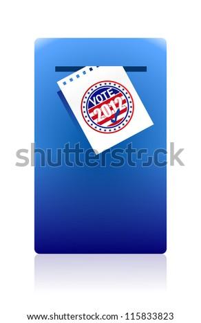 2012 voting paper in a blue ballot box illustration design