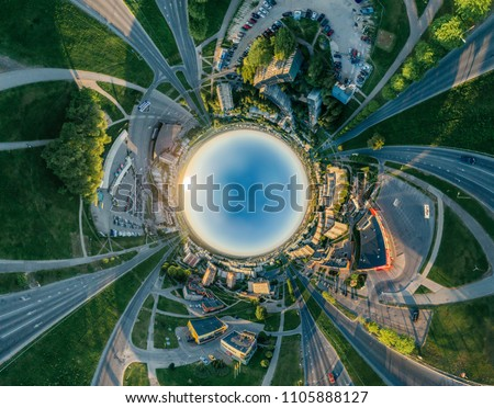 360 VR Drone r Riga city houses and Block of flats, summer picture for Virtual reality, Street Panorama