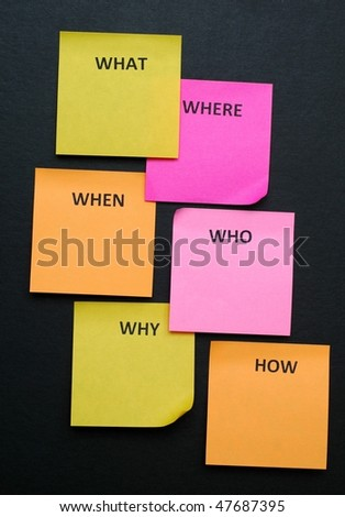 5W1H Sticky Notes on blackboard