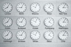 15 wall clocks showing time in different capitals of world, collage