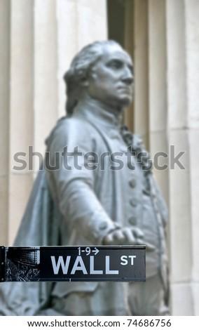 Wall Street with George Washington statue in Manhattan Finance district