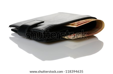 Wallet with euro banknotes isolated over white background