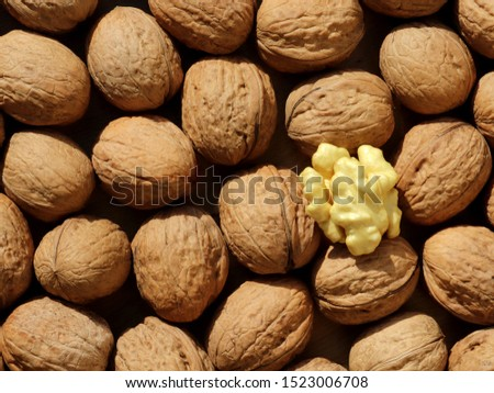 walnuts brown background fresh natural