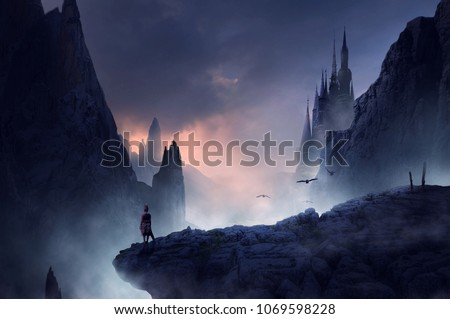 warrior or man standing on fantasy hill - Shutterstock ID 1069598228