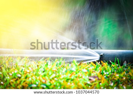 water leaking.leak form rubber tube or hole in a hose in the garden. #1037044570
