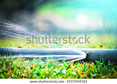water leaking.leak form rubber tube or hole in a hose in the garden. #1037044582
