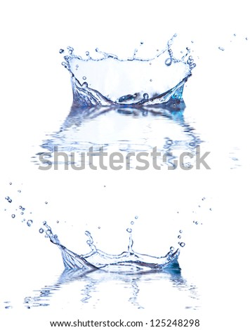 Water splashes with reflection, isolated on white background