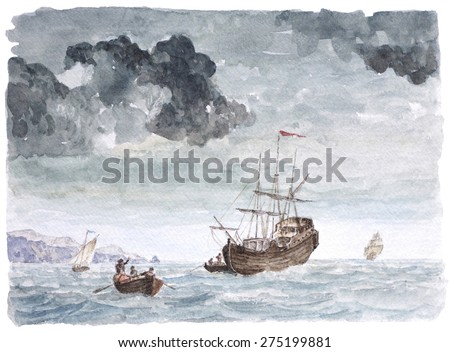 Watercolor Background, Vintage Seascape Painting,Tall ship near the beach, Transhipment, Hard work On The Sea.