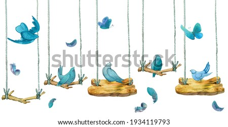 Watercolor birds, feathers, butterflies. Seamless banner, border background. Hand drawn isolated on white background blue birds sit on branches, swing Foto stock ©