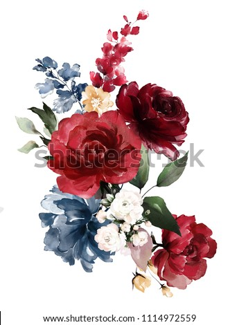watercolor burgundy flowers. floral illustration, Leaf and buds. Botanic composition for wedding or greeting card.  branch of flowers - abstraction roses