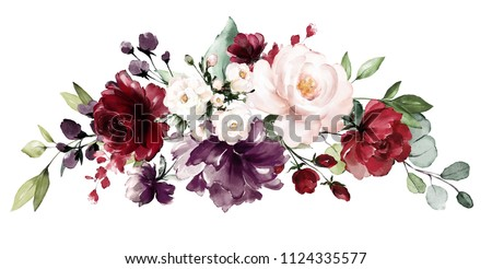 watercolor burgundy flowers. floral illustration, Leaf and buds. Botanic composition for wedding, greeting card.  branch of flowers - abstraction roses
