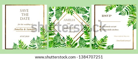 Watercolor composition with three invite cards with green tropical leaves and gold frames and names text, nature wedding invitations set #1384707251