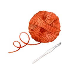 watercolor drawing clip art a skein of yarn for knitting and a crochet hook. cute drawing in autumn colors on the topic of knitting, crocheting, needlework, made by hand.