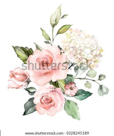 watercolor flowers. floral illustration, Leaf and buds. Botanic composition for wedding or greeting card.  branch of flowers - abstraction roses, romantic