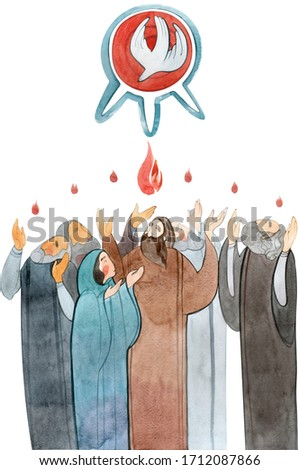 Watercolor illustration Descent of the Holy Spirit on the Apostles, Holy Trinity Day, Pentecost, whitsunday. Praying men and women, the Holy Spirit in the form of a dove. Foto stock ©