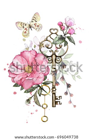 watercolor illustration with  flowers,  keys. background with flowers, jewelry, butterfly and splash paint. Cool print on T-shirt, Tattoo. Vintage