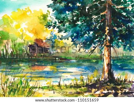 Watercolor Landscape -house near the lake.