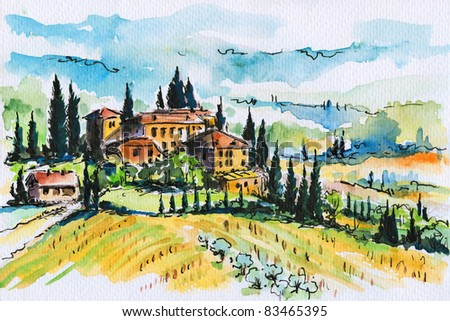 Watercolor painting of a Tuscany landscape