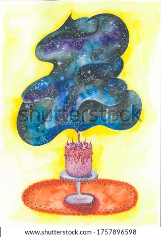 Watercolor painting of  birthday cake with one candle. Cloud of stars rising from candle on pink cake. Art abstract illustration.