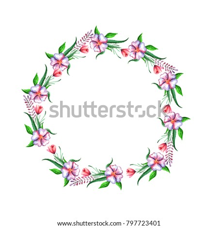 watercolor wreaths with wildflowers and leaves you can use it to