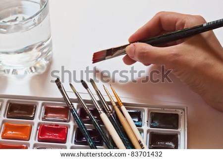Watercolour paints set