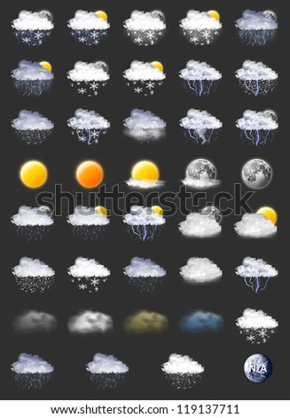 39 Weather Forecast Icons Set