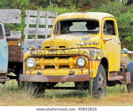 Weathered antique truck.