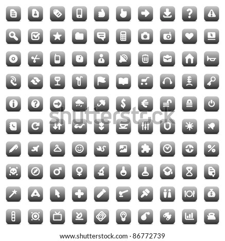 100 web, business, media and leisure icons set. Gray buttons. Raster version. Vector version is also available.