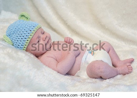 stock photo : 7 week old baby boy