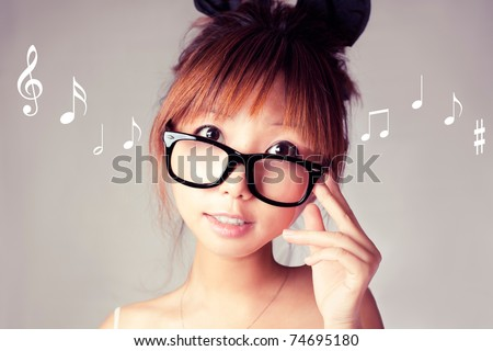 weird looking girl with a big glasses.
