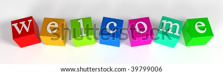 """welcome"" phrase compiled with a cubes - 3d rendering"