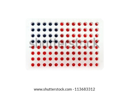 96 well plate with blue and red fluids represent USA flag