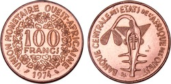 100 West African CFA Francs, 1974, Financial Community of Africa, National Currency