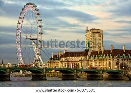 Westminster Bridge and the popular tourist attraction The Merlin Entertainments London Eye
