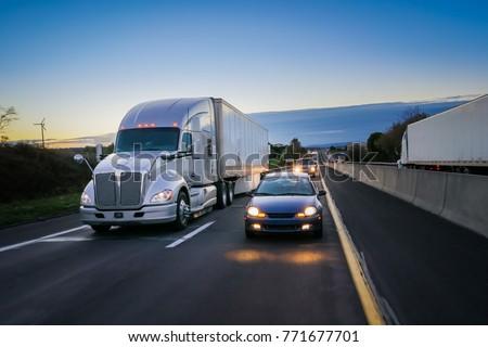 18 wheeler semi truck at night...