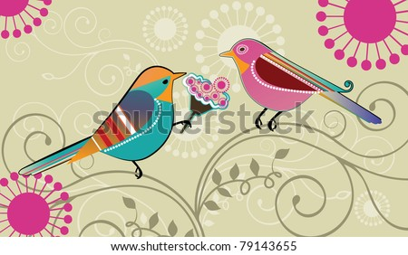 Whimsical birds ; Male bird presenting a bouquet of flowers