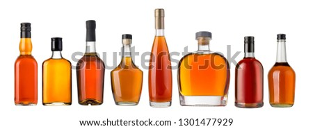 whiskey bottlel isolated over a white background  #1301477929