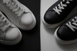 white and black shoes on a white and black background