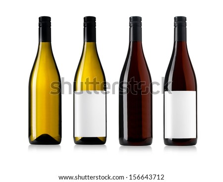 white and red wine bottles set isolated on white #156643712