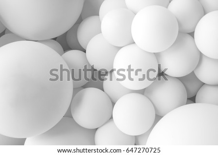 white balloons, white inflatable balls, plastic ball, background of white and gray circles, festive background of balloons monochrome, #647270725