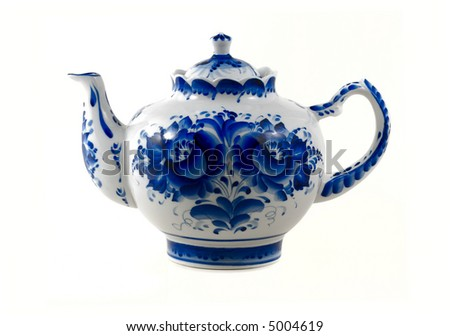 white  brewing teapot  decorated with blue patterns isolated on white