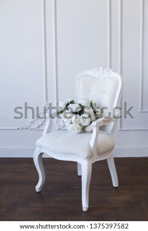White chair. Detail of the classic interior. Selective focus. Selective focus #1375397582