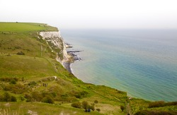 White cliffs south coast of Britain, Dover, famous place for archaeological discoveries and tourists destination