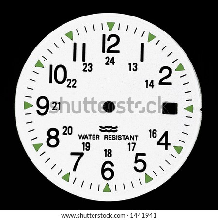 white clock dial with water resistant legend