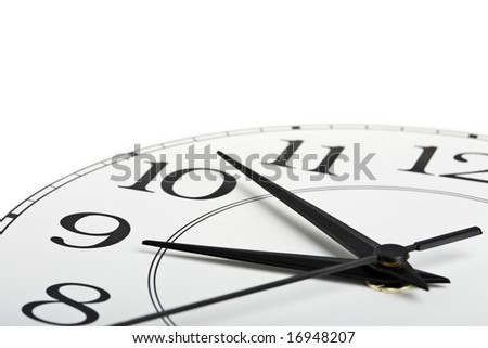 white clock showing time about nine isolated