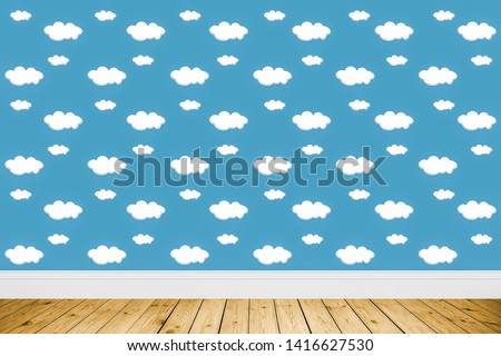 White Clouds on Blue Sky Background with wood floor