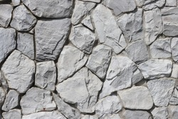 White color of stone brick wall texture abstract background.  Grey Brickwork or stonework wall.