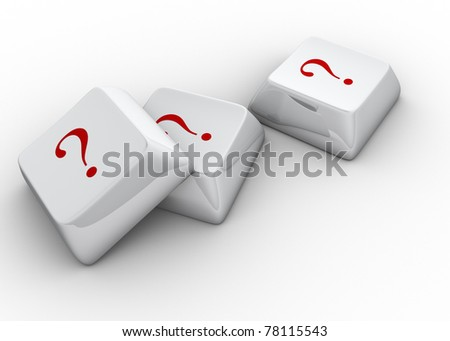 White computer keyboards with question mark - 3d render