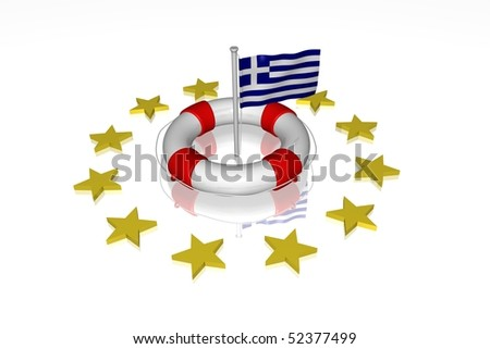 White life buoy with flag of Greece
