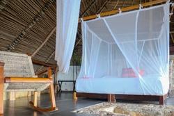 white mosquito net at resort